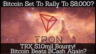 Crypto News | Bitcoin Set To Rally To $8,000? TRX $10mil Bounty! Bitcoin Beats BCash Again?