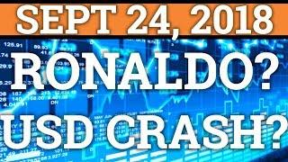 USD CRASH TO CAUSE CRYPTOCURRENCY MOON? RONALDO + CRYPTOCURRENCY? BITCOIN TRADING, PRICE + NEWS 2018