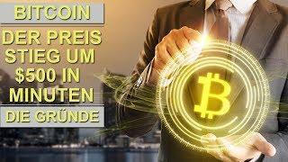BITCOIN PREIS STIEG UM $500 IN MINUTEN - DIE GRÜNDE