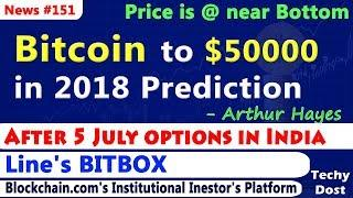 Bitcoin to $50000 in 2018 Prediction, After 5 July options in India, Line's BITBOX