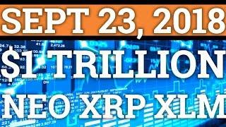 $1 TRILLION CRYPTOCURRENCY MARKET CAP! BITCOIN BULLISH? RIPPLE XRP STELLAR XLM NEO PRICE, NEWS 2018