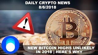 Why Bitcoin May Not See New Highs In 2018 | Daily Crypto News 8/6/2018