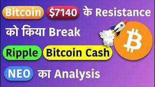 Bitcoin successfully breaks 7140$ resistance || XRP ,NEO ,BCH chart analysis in HINDI
