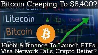 Crypto News | Bitcoin Creeping To $8,400? Huobi & Binance To Launch ETFs. Visa Fails, Crypto Better?