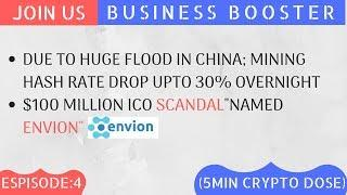 """Bitcoin Hash Rate Drop Upto 30% ! $100 Million ICO Scandal """"ENVION"""" (Watch Our 5 Min Every day)"""