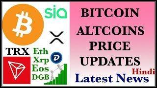TRON SIA DGB RIPPLE ETHEREUM EOS ADA LITECOIN BITCOIN BTC PRICE UPDATES HINDI LATEST NEWS