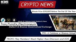 Crypto Update - Bitcoin Price $20,000 Before The End Of The Year | Tron,Pundix,Etn Latest News